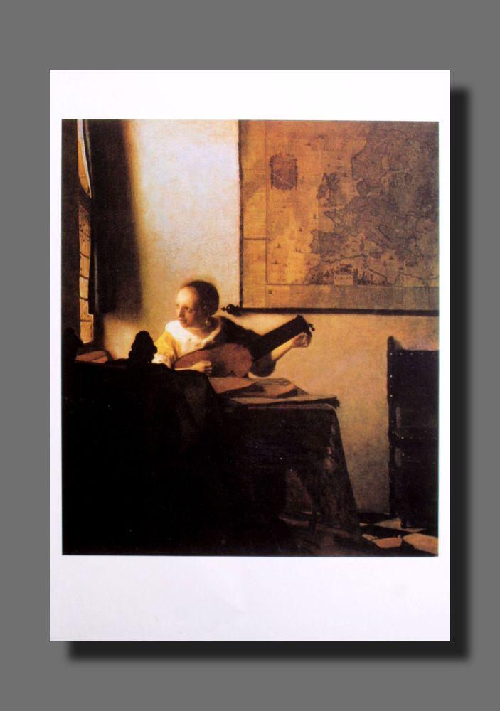 Jan Vermeer - Lautenspielerin am Fenster - Postkarte