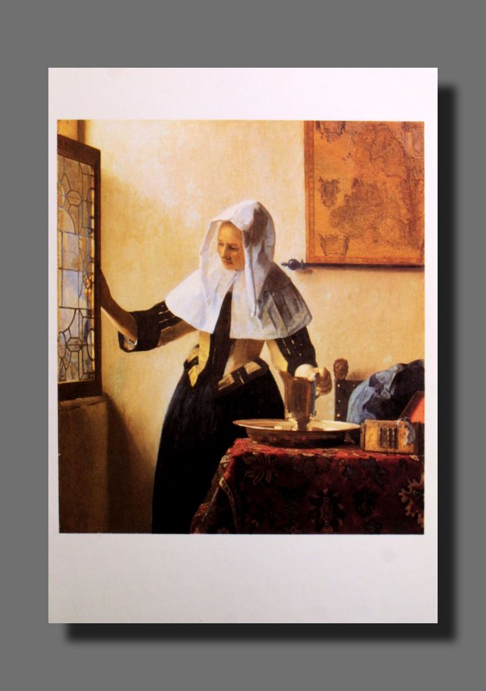 Jan Vermeer - Junge Frau mit Wasserkanne am Fenster - Postkarte