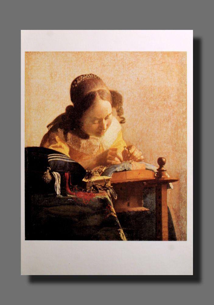 Jan Vermeer - Die Spitzenklöpplerin - Postkarte