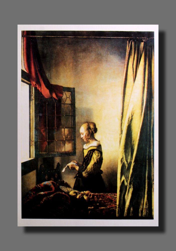Jan Vermeer - Briefleserin am offenen Fenster - Postkarte