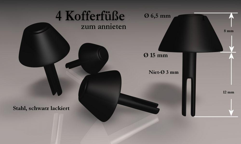 4 Kofferfüße - schwarz
