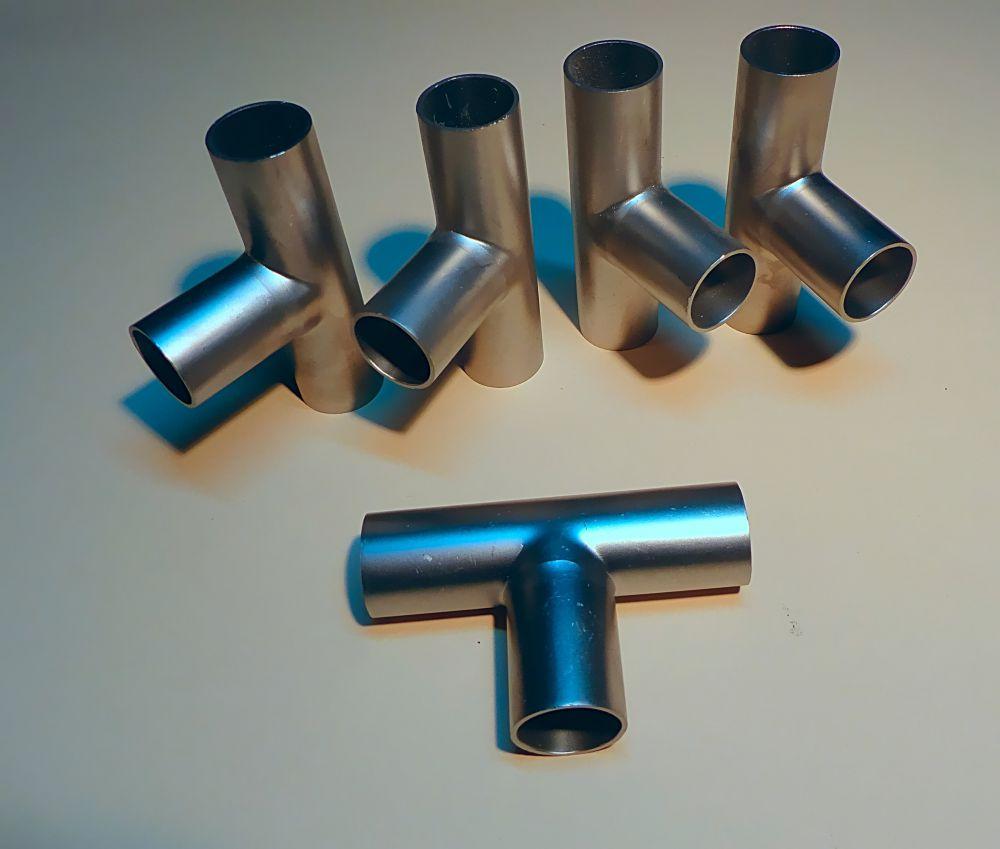 5 T-Stücke Edelstahl Ø 28 x 1,5 mm