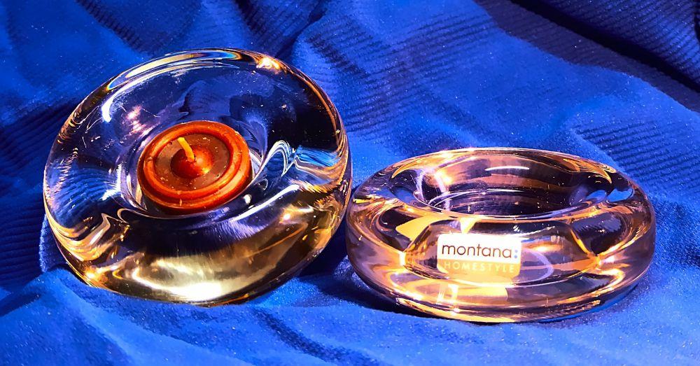 2 Glas Teelichthalter Rund