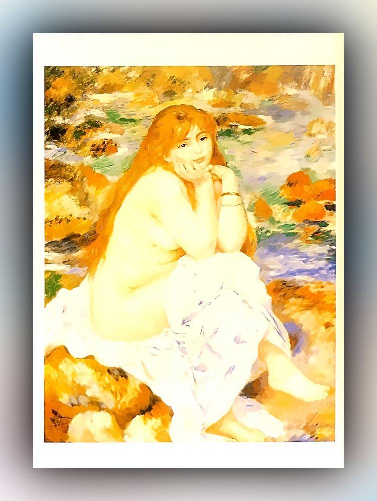 Pierre-Auguste Renoir - Sitzende Badende - Postkarte