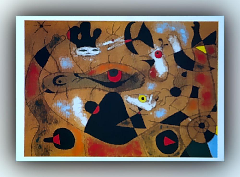 Joan Miró - Ein Tautropfen, der von dem Flügel eines Vogels fällt, weckt die im Schatten eines Spinnennetzes schlummernde Rosalie - Postkarte