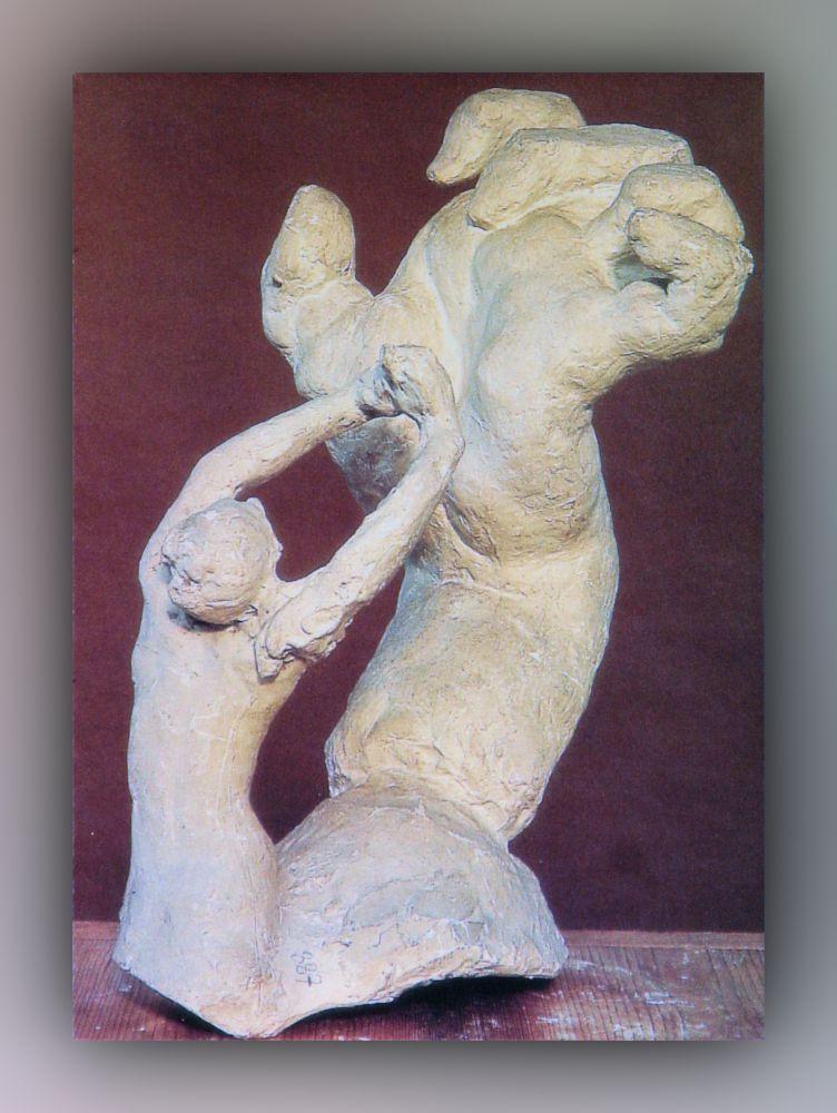 Auguste Rodin - Die große verkrampfte Hand mit flehender Gestalt - Postkarte