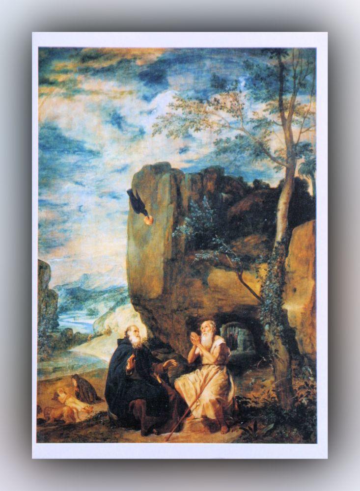 Diego Velázquez - Die Heiligen Antonius der Abt und Paulus der Eremit - Postkarte