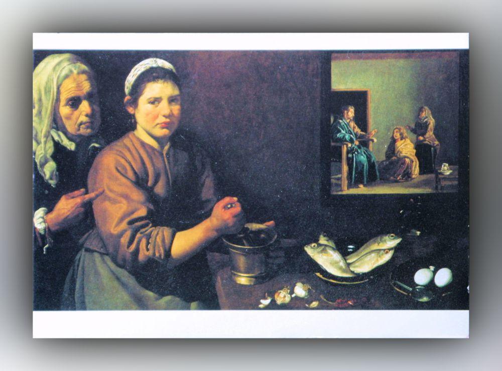 Diego Velázquez - Chritus im Hause von Maria und Martha - Postkarte