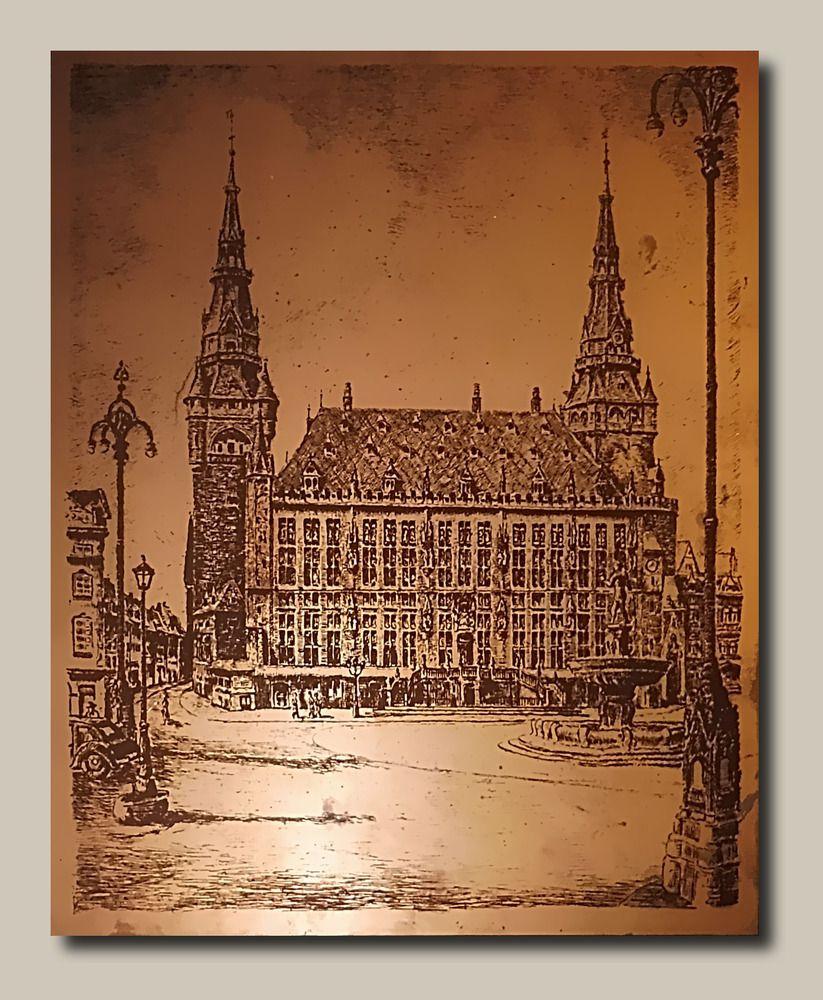 Aachener Rathaus auf kupferkaschierter Pertinaxplatte