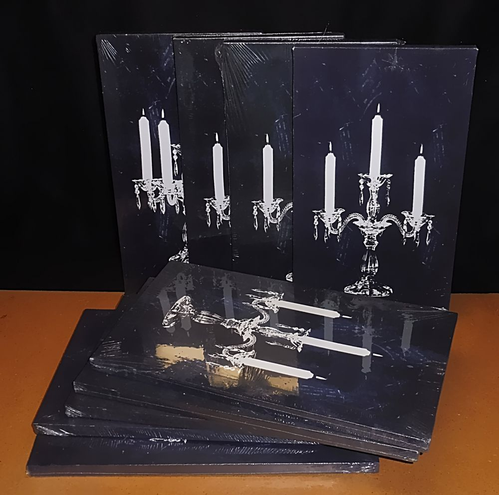 9 Keilrahmen bespannt mit Kerzenleuchter-Motiv