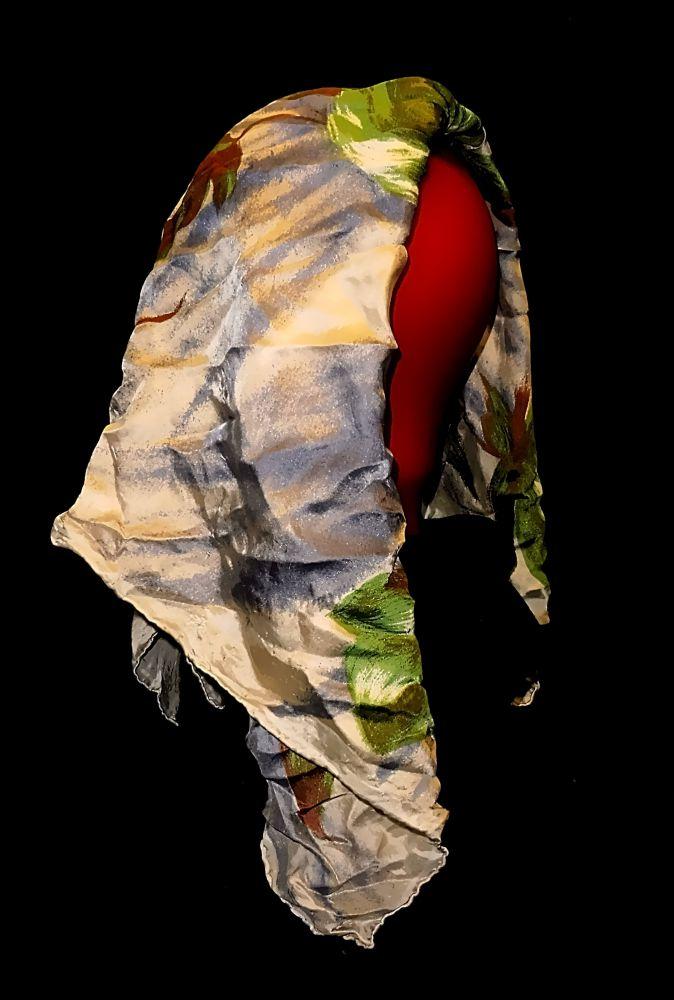 Kopftuch Halstuch Schal Schultertuch - grün / blau mit Blumen