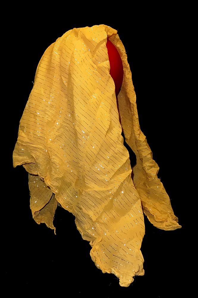 Kopftuch Halstuch Schal Schultertuch - gelb mit Silberfäden durchwirkt