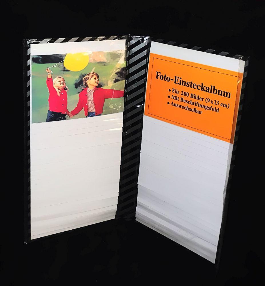 Einsteck-Fotoalbum für 200 Bilder 9 x 13 cm schwarz