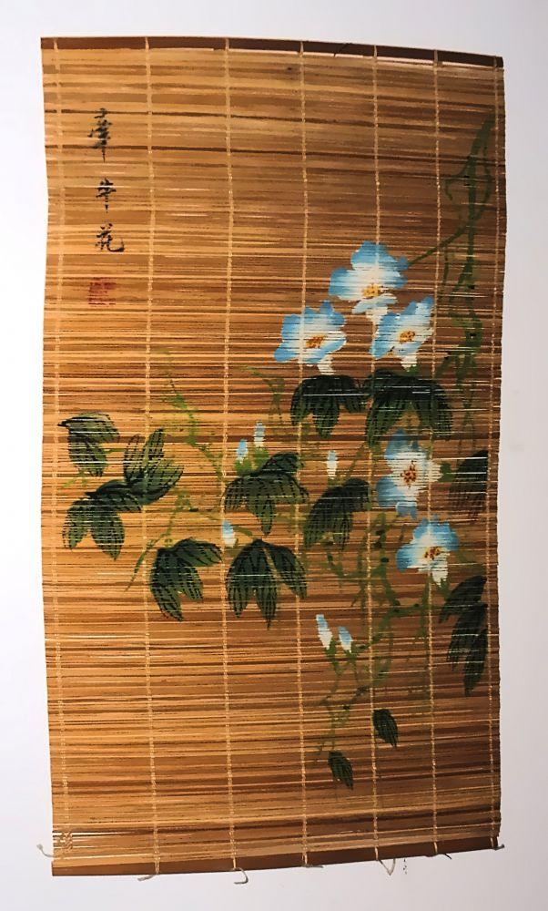 Kakejiku japanisches Rollbild blauweiße Blüten