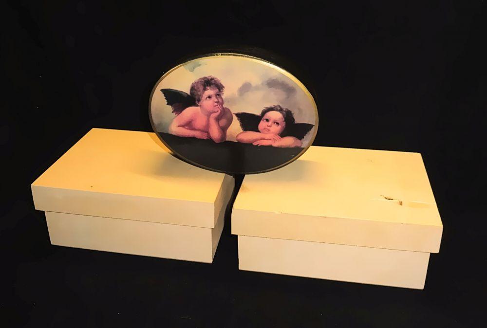 2 Holzdosen rechteckig, 1 Kunststoffdose oval