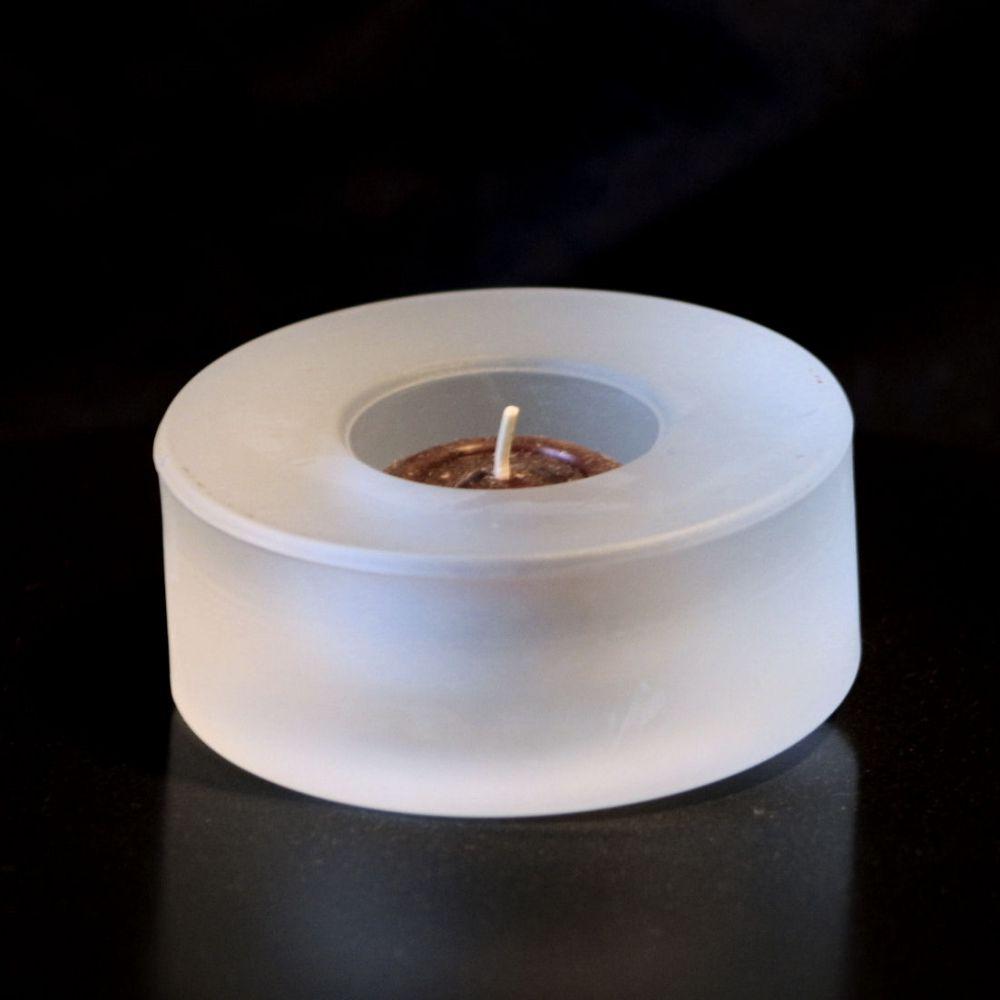 Glas Teelichthalter Rund - Matt Weiß