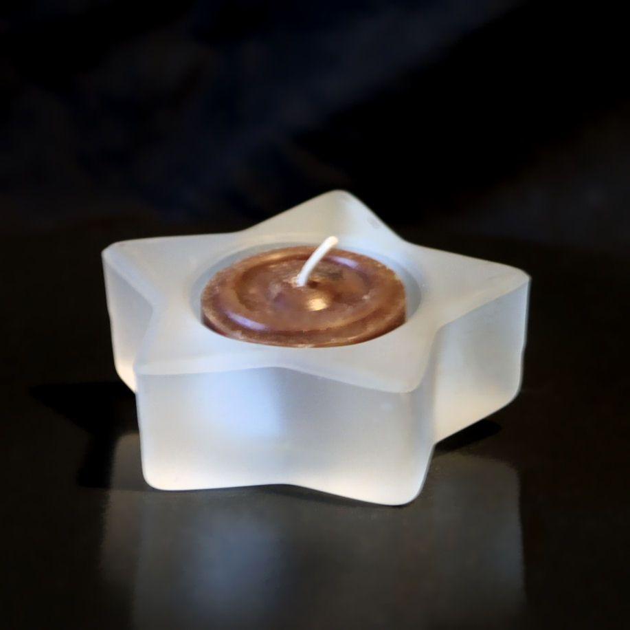 Glas Teelichthalter in Stern Form - Matt Weiß
