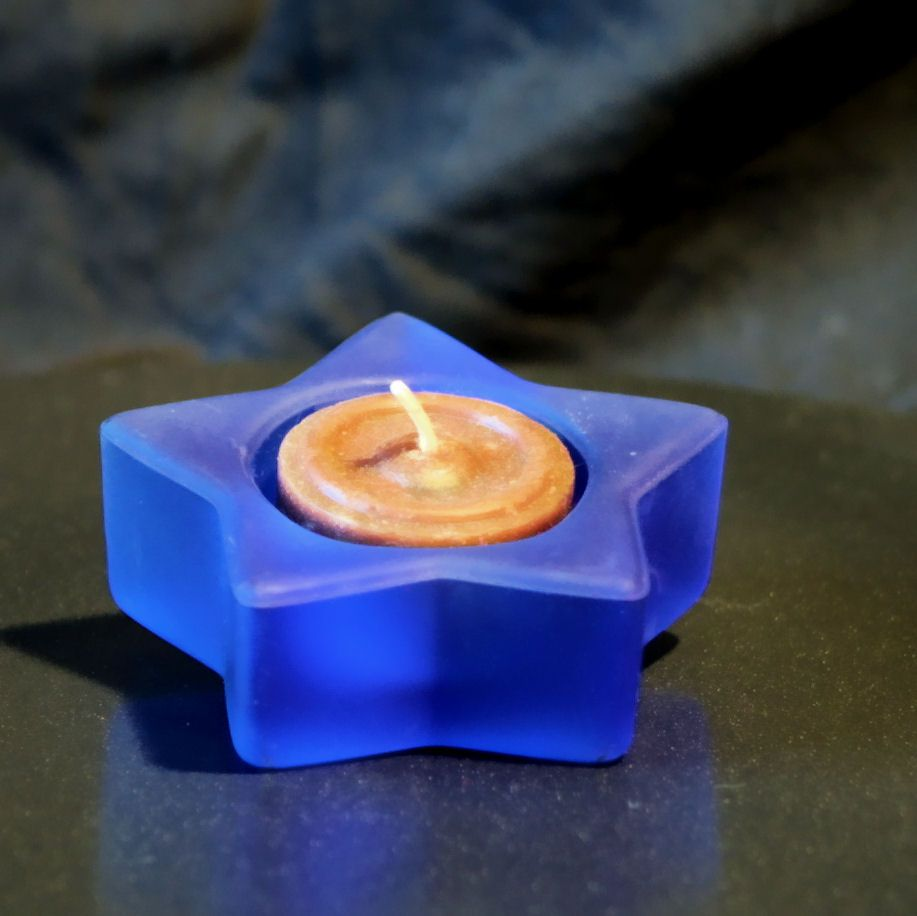 Glas Teelichthalter in Stern Form - Matt Blau