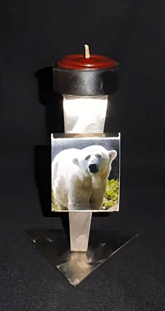 Teelichtleuchter mit Fotohalter 12 cm