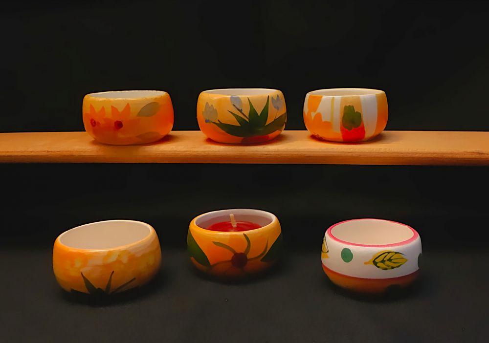 6 Keramik Teelicht Töpfchen mit Blumenmuster