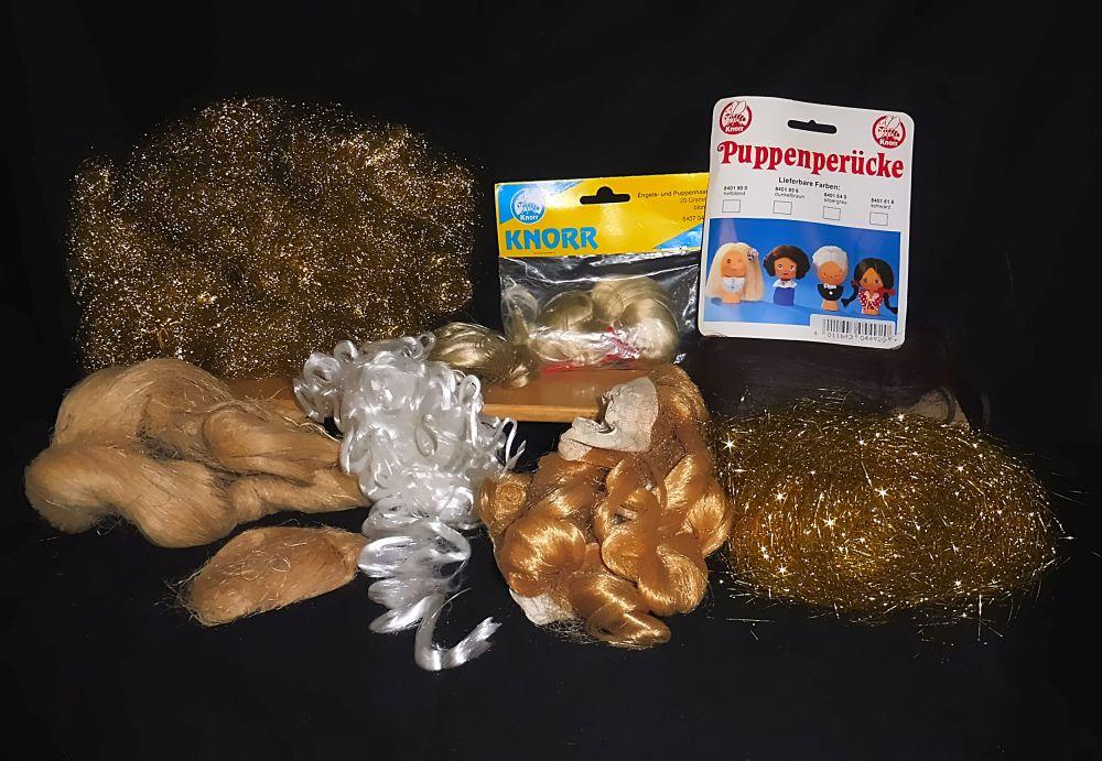 Puppen- und Engelshaar: blond, silbern, golden, braun