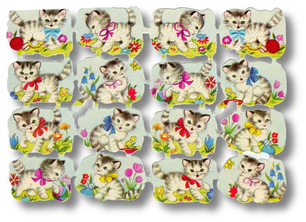Scrapbook Aufkleber Sticker: Katzenbabies mit Schleife