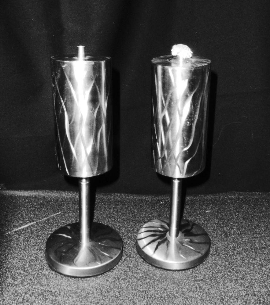 2 Edelstahl Öllampen