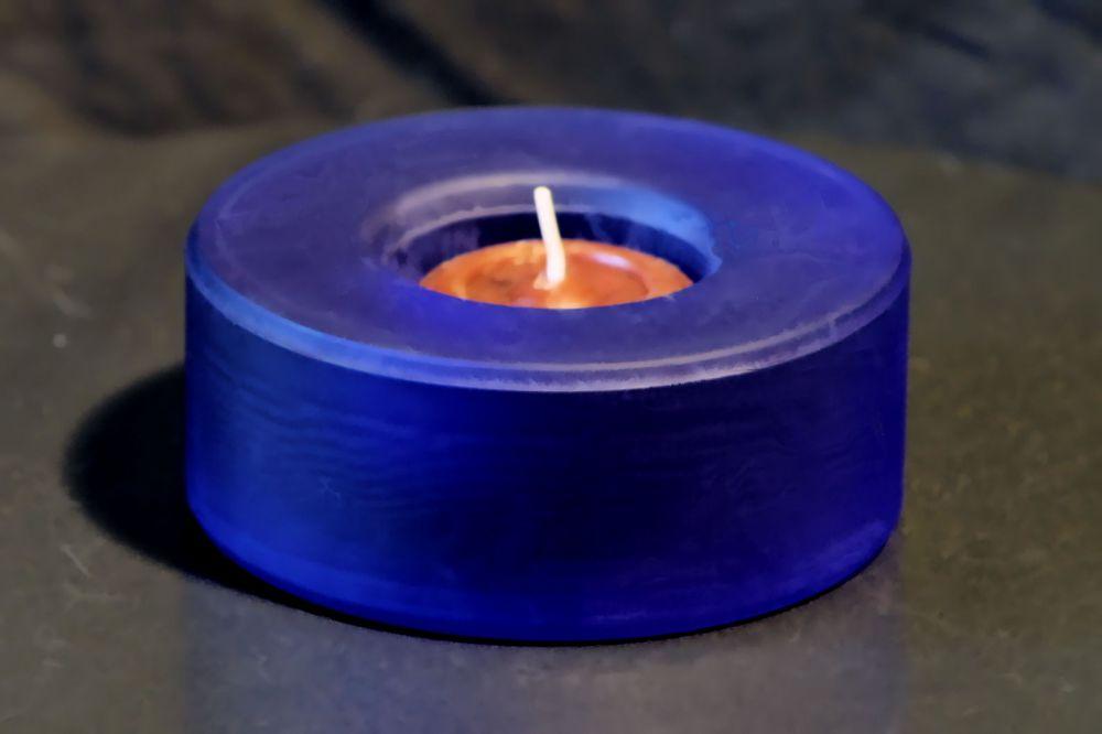 Glas Teelichthalter Rund - Matt Blau