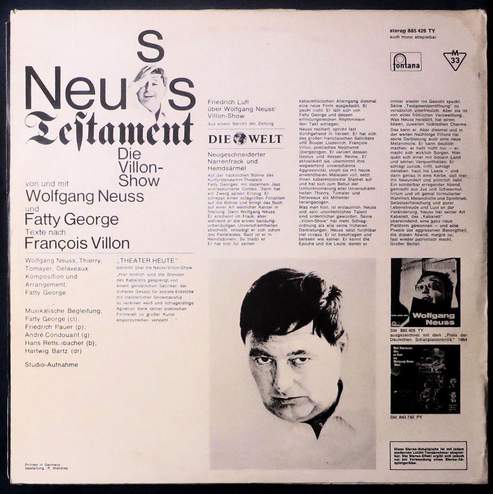 Wolfgang Neuss - Neuss Testament Die Villon-Show - Vinyl
